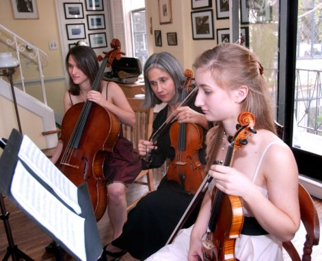 Constance coaches a Suzuki-trained string chamber group in her Beverly Hill violin studio.