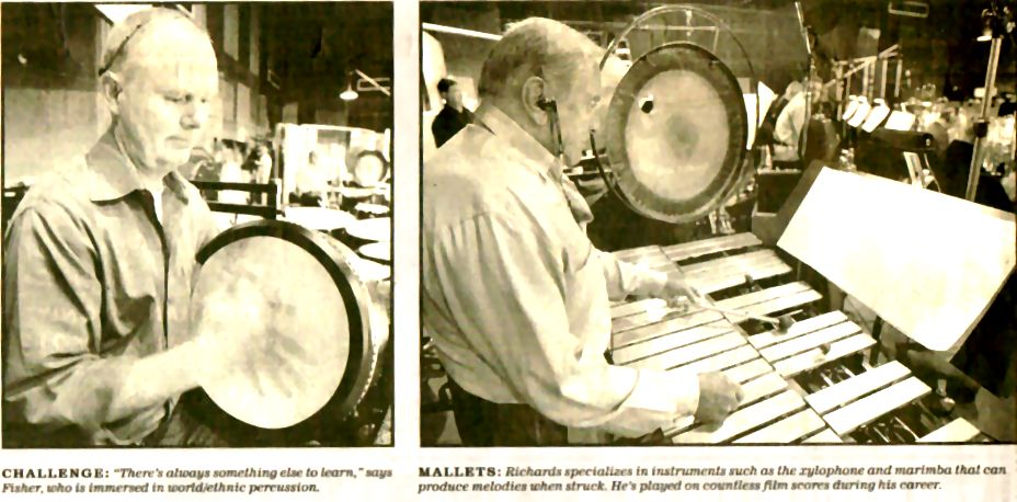 "Photos of percussionists Michael Fisher (left) and Emil Richards (right) appeared with this article on percussion, ""Precision Strike Force"" in the Los Angeles Times, by author, violinist and violin teacher Constance Meyer."