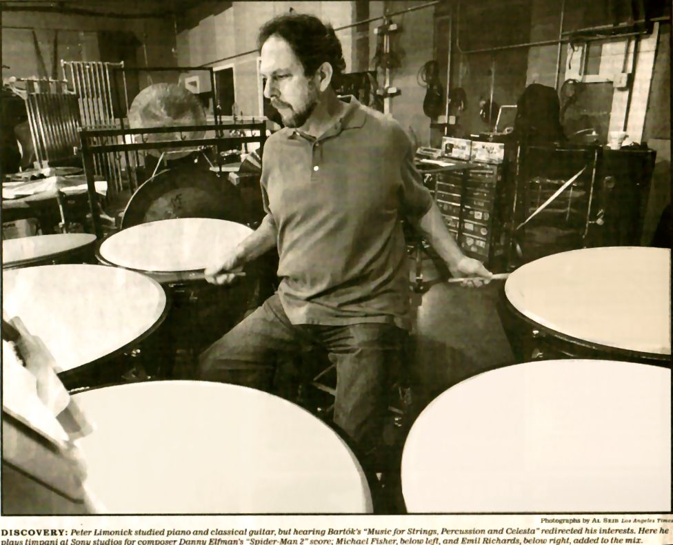 "This photo of percussionist Peter Limonick appeared with this article on percussion, ""Precision Strike Force"" in the Los Angeles Times, by author, violinist and violin teacher Constance Meyer."