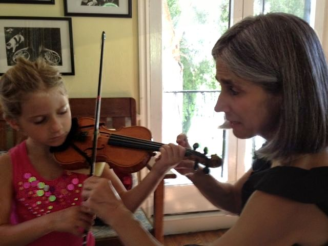 Beverly Hills violin student Eva learns proper violin technique during her lesson with Constance.