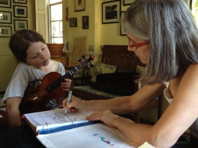 Beverly Hills violin student Loretta gets a strong foundation in music during her violin lesson from Constance.